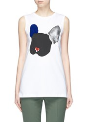 Etre Cecile Colourblock Flocked Velvet Bulldog Tank Top White