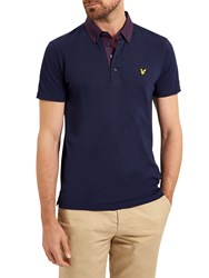 Lyle And Scott Woven Cell Polo Shirt Navy