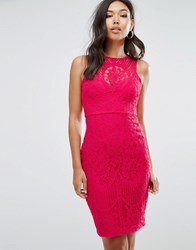 Lipsy Lace Overlay Bodycon Dress Red
