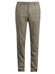 Incotex Super 100 Micro Hound's Tooth Trousers Brown Multi