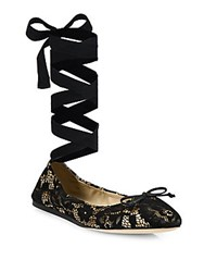 Saks Fifth Avenue Lace Ankle Wrap Ballet Flats