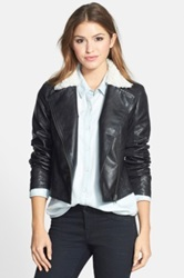 Halogen Faux Shearling Collar Faux Leather Moto Jacket Black