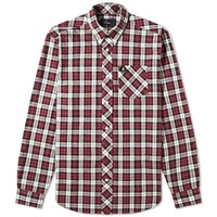 Fred Perry Authentic Button Down Tartan Shirt Burgundy