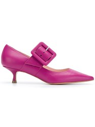 Anna F. Buckled Kitten Heel Pumps Pink And Purple