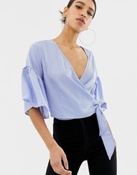 Ax Paris Cropped Wrap Blouse Blue