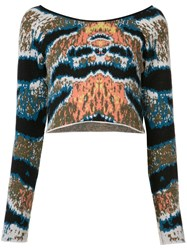 Baja East Cropped Tiger Stripe Sweater Women Cashmere 0