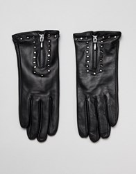 Barney's Originals Real Leather Gloves With Zip And Studs Black