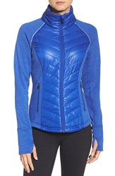 Zella Women's Zelfusion Reflective Quilted Jacket Blue Ultra