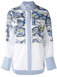 Isabelle Blanche Floral Embroidery Stripe Shirt Women Cotton Spandex Elastane Viscose L White