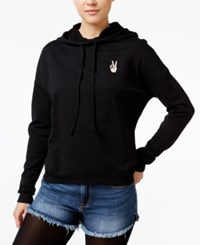 Rebellious One Juniors' Peace Graphic Hoodie Black
