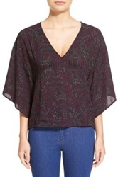 Leith V Neck Kimono Sleeve Top Purple
