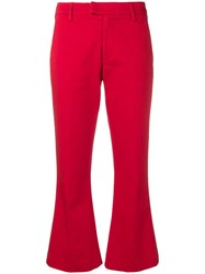 Dondup Cropped Flare Trousers Red