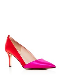 Sarah Jessica Parker Sjp By Women's Rampling Satin Color Block Pointed Toe Pumps Fuchsia