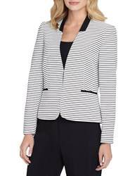 Tahari By Arthur S. Levine Petite Collarless Striped Jacket White Black