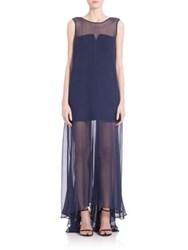Milly Charlene Silk Chiffon Illusion Gown Navy