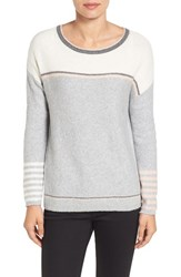 Caslonr Women's Caslon Button Back Sweater Heather Grey Stripe