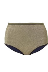 Stella Mccartney Striped Stretch Lurex Bikini Briefs Gold