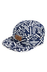 Obey 'Tabora' Five Panel Camp Cap Indigo Multi