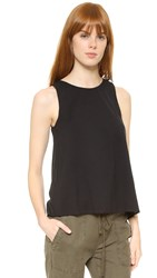 James Perse Wrap Back Tunic Top Black