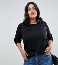 Asos Design Curve Top In Super Oversized Fit With Long Sleeve In Black