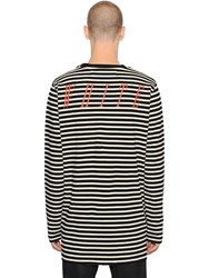 Off White Striped Cotton Jersey T Shirt