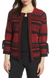 Ming Wang Tweed Knit Jacket Bushberry Black Stonecliff