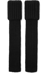 Marni Cable Knit Wool Blend Fingerless Gloves Black