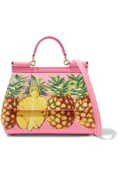 Dolce And Gabbana Sicily Medium Printed Textured Leather Tote Pink