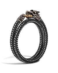 John Hardy Men's Naga Double Wrap Dragon Cord Bracelet Black