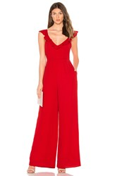 Line And Dot Poinsettia Ruffle Front Jumpsuit Red