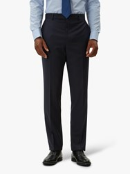 Jaeger Tropical Weave Grid Check Regular Fit Suit Trousers Navy