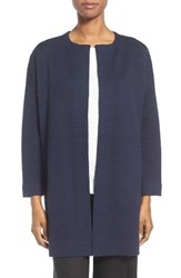 Eileen Fisher Women's Silk Blend Jacquard Jacket Midnight