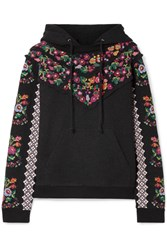 Needle And Thread Embellished Broderie Anglaise Trimmed Jacquard Cotton Blend Hooded Top Black