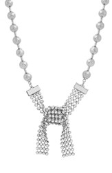 Steve Madden Casted Beaded Stone Collar Necklace Silver