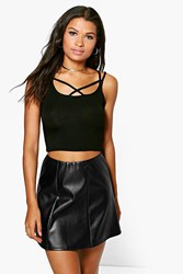 Boohoo Strappy Crop Top Black