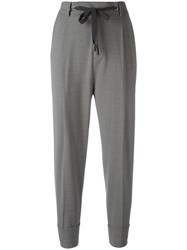 Eleventy Drop Crotch Cropped Trousers Grey