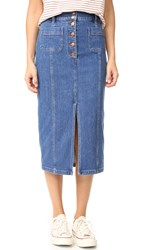 Madewell Denim Long Snap Front Midi Skirt Lena Wash