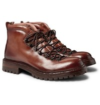 Officine Creative Manchester Shearling Lined Grained Leather Hiking Boots Brown