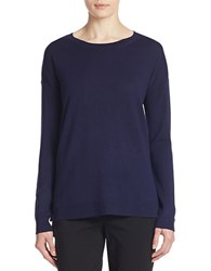Lord And Taylor Merino Wool Hi Lo Crewneck Sweater Evening Blue