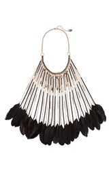 Natasha Feather Long Bib Necklace Gold Black