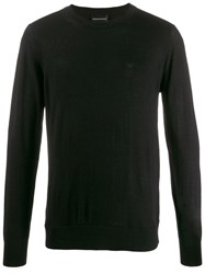 Emporio Armani Logo Embroidered Jumper Black