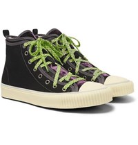 Lanvin Canvas And Velvet High Top Sneakers Black