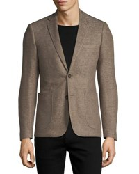 1 Like No Other Cotton Linen Knit Two Button Blazer Camel
