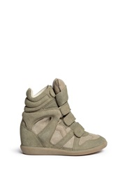 Etoile Isabel Marant 'Bekett' Suede High Top Wedge Sneakers Green