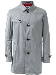 Education From Youngmachines Panel Detail Button Up Trench Coat Grey