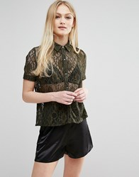 Hedonia Short Sleeve Lace Shirt Olive Green