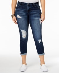 Celebrity Pink Trendy Plus Size Ripped Girlfriend Jeans Simona