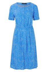 Sugarhill Boutique Litzy Swirling Dots Button Up Dress Blue
