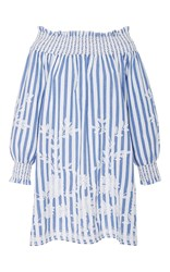 Juliet Dunn Embroidered Long Sleeve Off Shoulder Dress Stripe