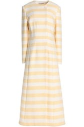 Emilia Wickstead Striped Wool Blend Coat Yellow